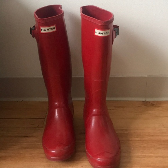 Hunter Shoes | Red Wide Calf Rain Boots